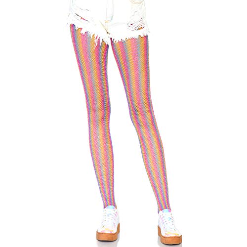 Leg Avenue Women's Lurex Shimmer Striped Fishnet Tights, Pink, O/S