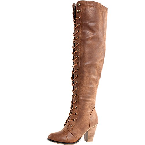 Forever Camila-48 Womens Chunky Heel Lace Up Over The Knee High Riding Boots,Tan,8