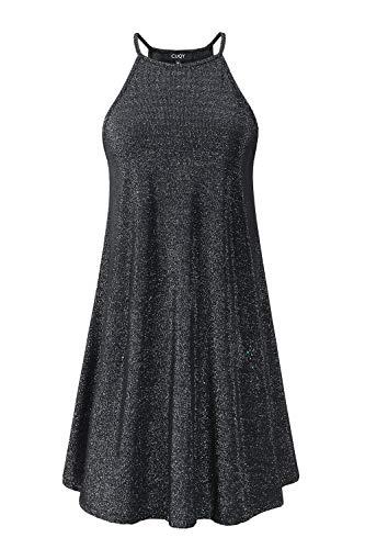 CUQY Womens Cocktail Sequined Mini Dress Sleeveless A-Line Halter Neck Dress (Black, M)