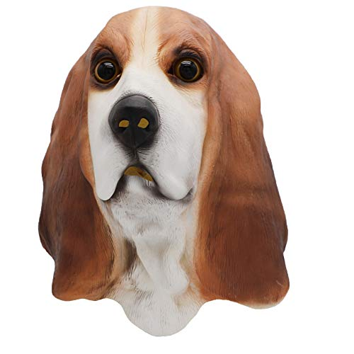 ifkoo Bowser Basset Hound Mask Animal Dog Mask Cosplay Costume Prop Nature Latex Halloween Party Latex ()