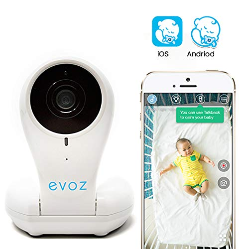 Evoz Vision Wi-Fi Video Baby Monitor with Updated Evoz Baby App 2019 for iOS and Android Unlimited Range Cry Detection Night Vision Talk Back HD Smart Camera
