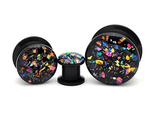 Black Acrylic Embedded Dichroic Glass Plugs - Sold as a Pair (1
