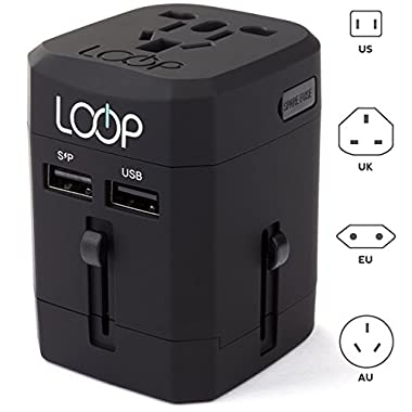 LOOP World Adapter Plug, Worldwide Travel Adapter Charger [US UK EU AU/CN] w/ Dual USB Charging Ports & Universal AC Socket - Safety Fused (Black)