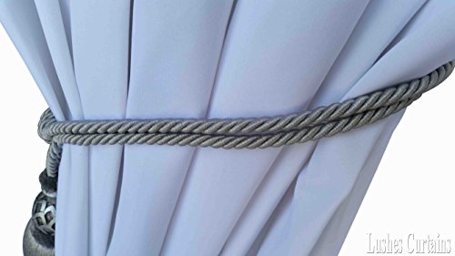 1 Luxury Handmade Silver Color w/Wood Single Tassel Rope Tie Back Window Treatment Curtain Drapery Vintage Look 2 Spread Cord Holdback Decor Tieback/Pull Back by Lushes Curtains (Image #3)