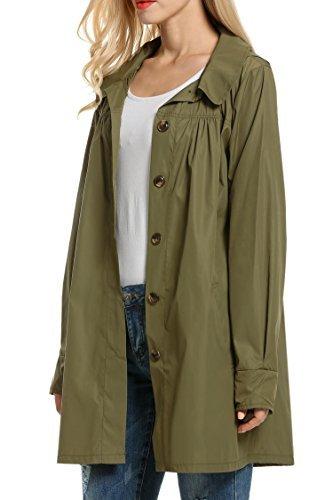 Corgy Women's Waterproof Raincoat Outdoor Hooded Windbreaker Rain Jacket(Army Green S)