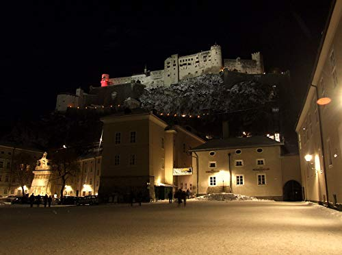 Home Comforts Peel-n-Stick Poster of Winter Snow Old Austria Castle Salzburg Night Vivid Imagery Poster 24 x 16 Adhesive Sticker Poster Print