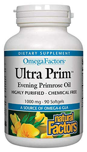 Natural Factors - Ultra Prim Evening Primrose Oil 500mg, A Natural Source of Omega-6 GLA, 180 Soft Gels