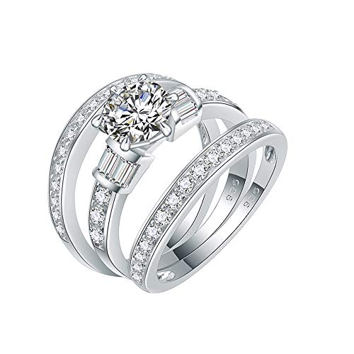Lavencious 925 Sterling Silver Rhodium Plated with AAA CZ Cubic Zirconia 3 Pieces Engagement Ring Sets for Women Size 6-9 (Silver, 8)
