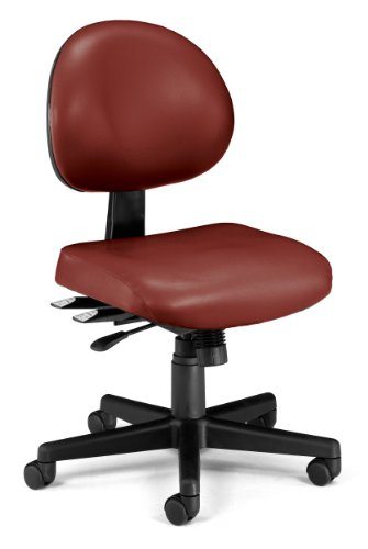 OFM 24-Hour Vinyl Multi-Adjustable Armless Task Chair, Wine
