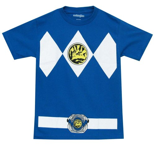Mighty Morphin Power Ranger Costumes For Adults (The Power Rangers Blue Rangers Costume Adult T-shirt Tee, Medium, Blue)