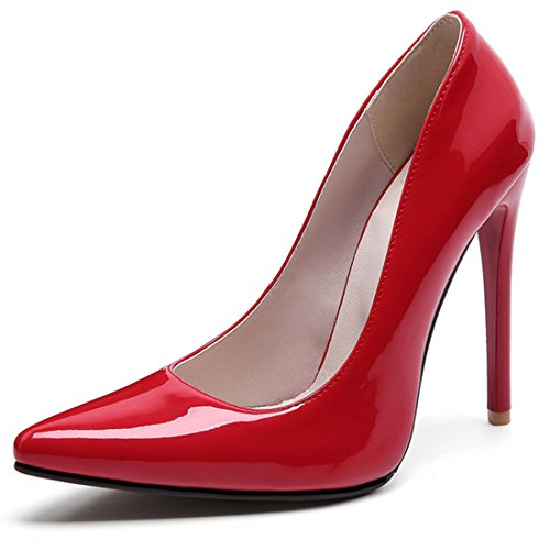 Women's High Heel Stiletto Pointed Toe Pumps (Red) - 4