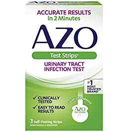 AZO Urinary Tract Infection (UTI) Test Strips, Accurate Results in 2 Minutes, Clinically Tested, Easy to Read Results, Clean Grip Handle, #1 Most Trusted Brand, 3 Count