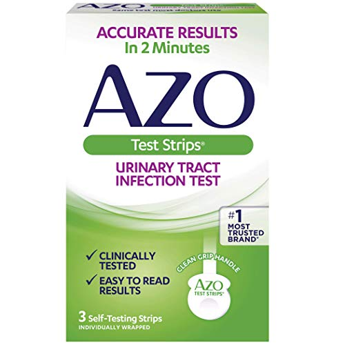 AZO Urinary Tract Infection (UTI) Test Strips | Accurate Results in 2 Minutes | Clinically Tested | Easy to Read Results | Clean Grip Handle | #1 Most Trusted Brand | 3 Self-Testing Strips (Best Over The Counter Yeast Infection Test)