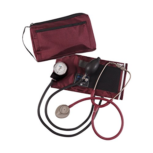 MatchMates Combination Kit with a 3M Littmann Lightweight II S.E. Stethoscope and a MABIS Aneroid Sphygmomanometer, Burgundy (Lightweight Stethoscope Iis)