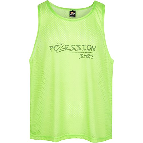 Pozession Sports Training Vests Pinnies Scrimmage Bibs Set of 12 in Large or 2XL for Youth Teens and Adult (Flash Green, Large)