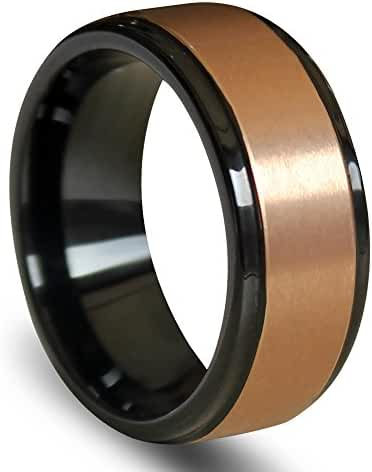Raised Brushed Rose Gold Center Tungsten Carbide Ring with Polished Step Edges 8mm
