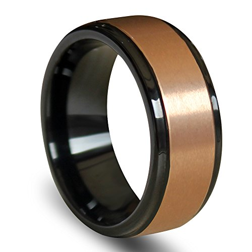 EZreal Will Queen 8mm Stylish Raised Brushed Rose Gold Center Tungsten Carbide Ring with Polished Step Edges Tungsten Bands Promise Rings Comfort Fit 10.5