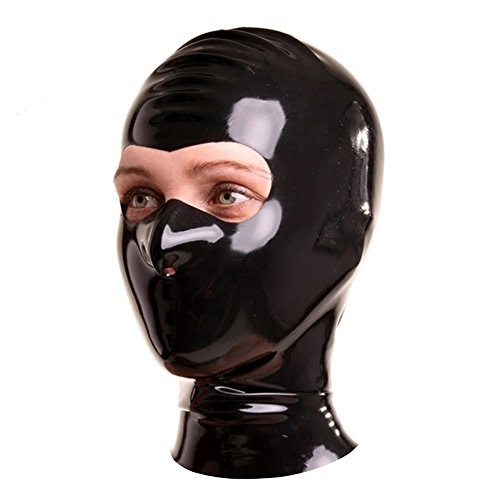 EXLATEX Latex Rubber Fetish Accessories Hood Mash with the Eyes Cut and Nostril (Small, Black)