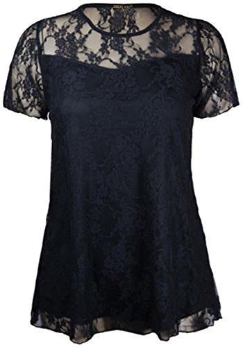 Plus 42 Dentelle Hauts 56 manches Taille Tunique Contraste Black florale Femmes Nouveaux courtes Pickle Chocolate qwFRt77