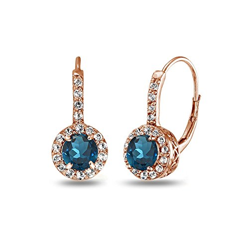 Rose Gold Flashed Sterling Silver London Blue Topaz & White Topaz Round Dainty Halo Leverback Earrings (Rose Gold London Blue Topaz)