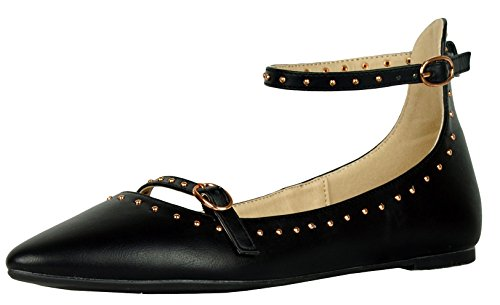 Cambridge Select Womens Closed Pointed Toe Studded Buckled Ankle Strap Ballet Flat Black tR7AWqQgw