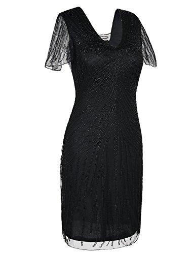 Art Cocktailkleid Kayamiya Flapper Schwarz Damen Deco Roaring Kleid 20er Perlen 18HXx8rwq