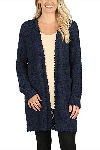 Boho Long Sleeve Soft Warm Chunky Popcorn Sweater - Cozy Casual Slub Knit/Open Front Cardigan Outwear/Pullover Pocket Tunic (Large, Open Cardi - Navy)