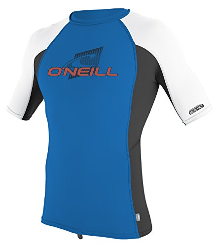 ONeill Wetsuits Youth Premium Skins Upf 50+ Short Sleeve Rash Guard,Ocean/Black/White,12