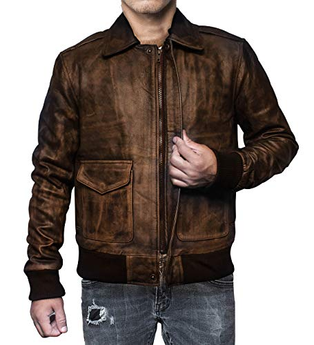 (A2 Aviator Air Force Pilot Men Vintage Distressed Brown Leather Bomber Jacket (Distressed Brown, L- Suitable for 43-44 inches Chest))