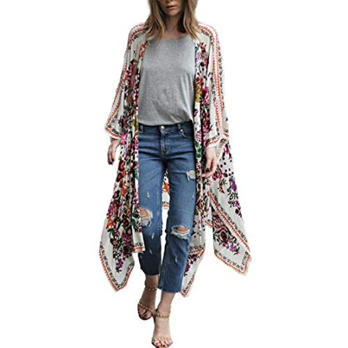 Women Vintage Beach Boho Floral Print Beach Cover up Ethnic Open Front Kimino Chiffon Loose Blouse Tops Outwear by Lowprofile White