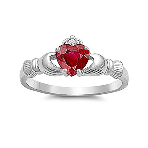 Blue Apple Co. Irish Claddagh Heart Promise Ring Simulated Red Ruby Round CZ 925 Sterling Silver, -