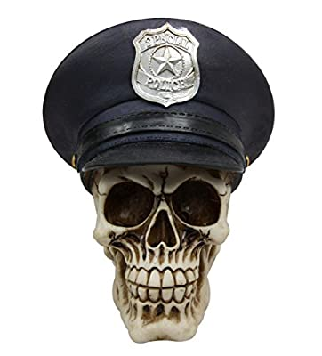 "Atlantic Collectibles 7"" Tall Law Enforcement Police Skull With Badge Hat Decorative Figurine"