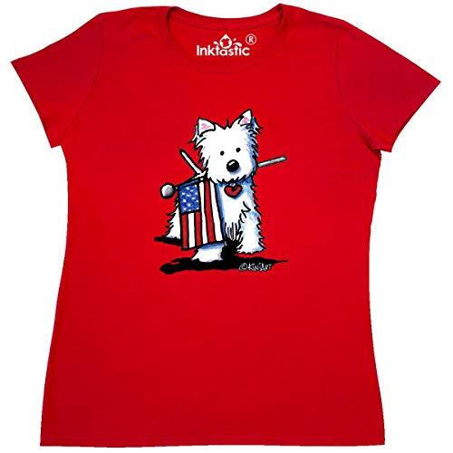 inktastic US Flag Westie Women's T-Shirt Medium Red - KiniArt