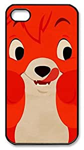 Cute Red Fox Shell Case for iPhone 4 4S 4G,Customized Black Hard Plastic Back Cover for iPhone 4 4S 4G,Cute iPhone 4 4S Case