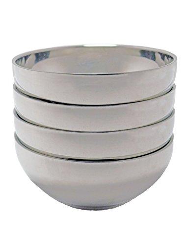 TukTek Kitchen Salsa Bowl Set of 4 Serving Dishes for Chips Dip & Snacks Made of Stainless Steel 8oz (4) by TukTek (Image #1)