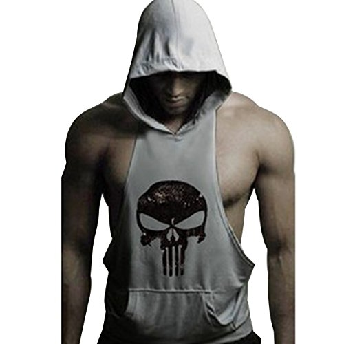 GZXISI Mens Skull Print Stringer Bodybuilding Gym Tank Tops Workout Fitness Vest (Large, Gray Hoodie) - Top Hooded
