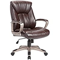 AC Pacific Modern Gas Lifted Nylon Upholstered Adjustable Swivel Office Chair with Padded Armrests and Caster Wheels, Brown