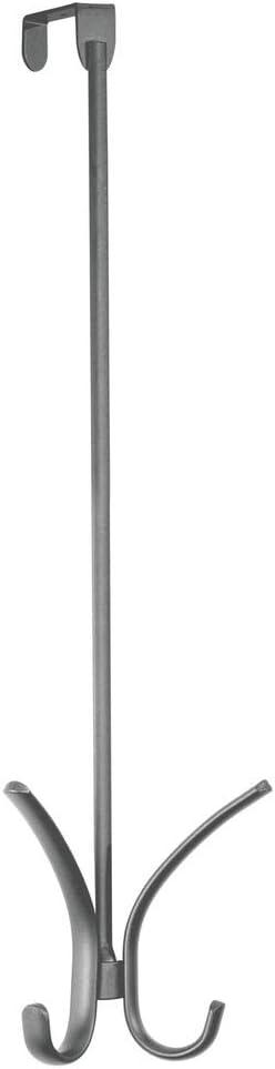 gro/ße T/ürgarderobe f/ür Jacken mDesign Garderobenhaken aus Metall schwarz mit vier Kleiderhaken zum H/ängen f/ür die T/ür Taschen oder Handt/ücher