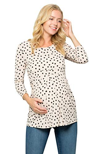 My Bump Women's 3/4 Sleeve Front Pleated Ultra Soft Maternity Top (X-Large, Taupe_BLK ()