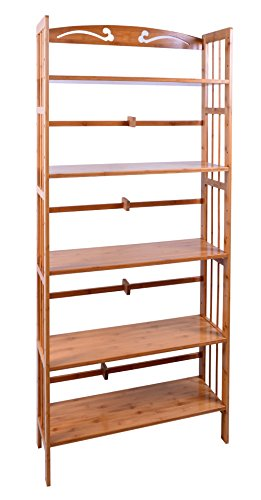 Bamboo 5-Shelf Bookcase, Natural by Three Pigs