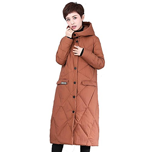 warm jacket thicker parkas down long hooded sleeve Brown button puffer coats women gOY5qw6z5