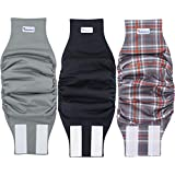PETSWEARE Male Dog Diaper - Reusable and Washable - Soft & Comfortable - A Set of 3 PCS (Large, Scottish, Black, Grey)