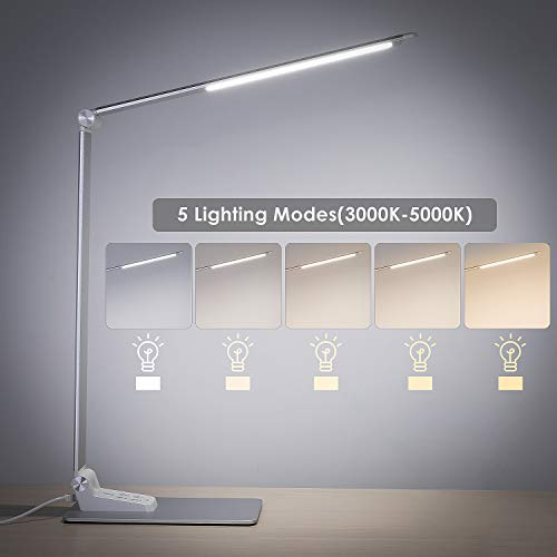 Deckey LED Desk Lamp, Eye-Caring Table Lamps, Aluminum Dimmable Office Lamp with USB Charging Port, 12W, 5 Lighting Modes, Touch Control, Multi-Angle and Foldable Design