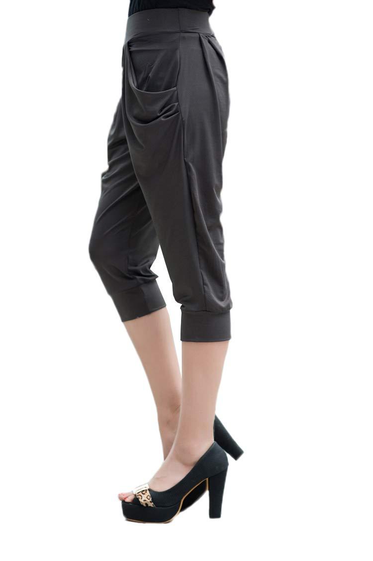 Hunchii Womens 7 High Waist Workout Running Yoga Shorts Tummy Control Side Pockets Plus size Navy XL