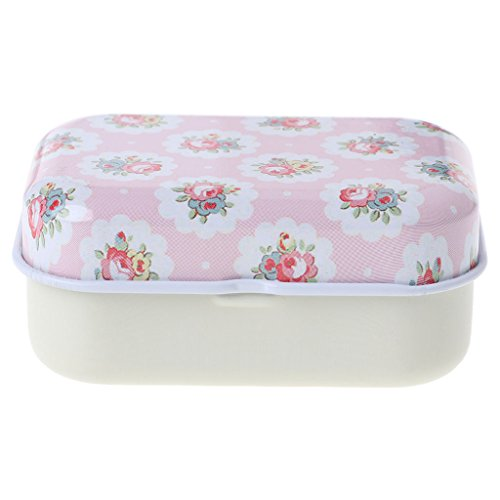 Yziss Hinged Trinket Box Jeweled Hand-Painted Patterns Flower Tin Trinket Jewelry Coin Box Tinplate Storage Case Small Rectangular ()