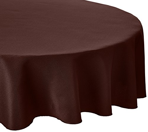 LinenTablecloth 120-Inch Round Polyester Tablecloth Chocolate