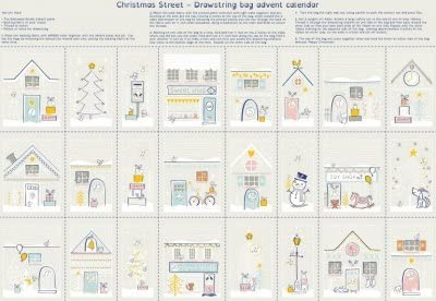Santa Grey Panel is 60 cm x 110 cm Advent Calendar Fabric Panel NU194 CHRISTMAS ADVENT PANEL