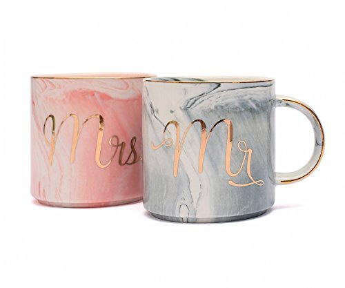 Tergi Mr and Mrs Coffee Mugs Set - Gift for Bridal Shower Engagement Wedding and Married Couples - Unique Wedding Gift for Bride and Groom - Ceramic Marble Cups 11.5 oz