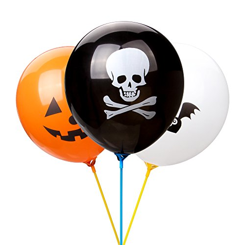 LOKMAN Halloween Balloons, 100pcs 12 Inches Ultra Thickness Assorted Pumpkin, Skull, Bat Latex Balloons for Happy Halloween's Day, Holiday Season Party Decoration (Skull+Pumpkin+Bat) (Halloween Party Skull Decoration)