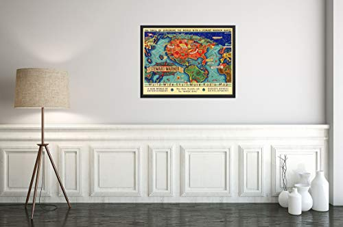 1932 World Wide Short Wave Radio Map - The Thrill of Exploring The World with a Stewart-Warner Radio.